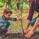 A Little Sapling for Your Little Sapling Plant a Tree Arbor Day_Boy planting a tree with dad